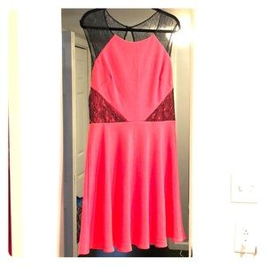 Betsey Johnson coral and black lace dress